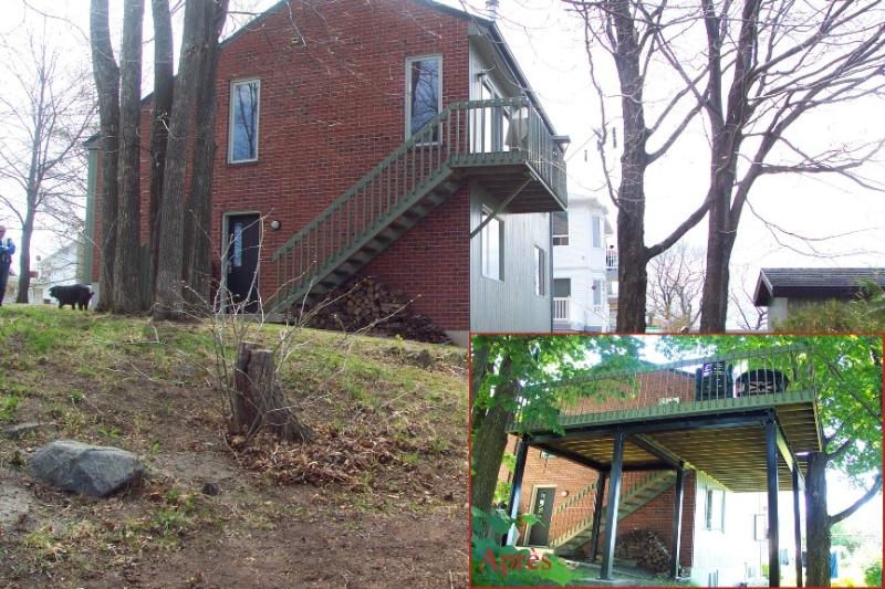 construction d une terrasse avec structure d acier. Black Bedroom Furniture Sets. Home Design Ideas